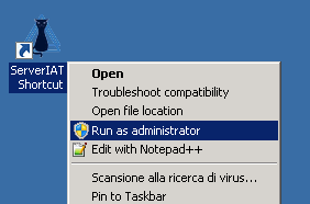 Start It asset tool as administrator to run as windows services