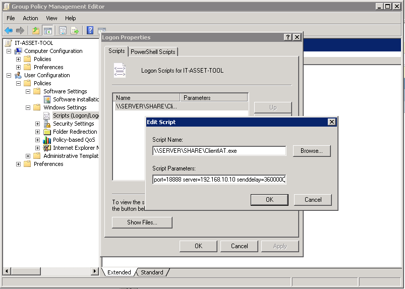 Start Parameters of Client IAT