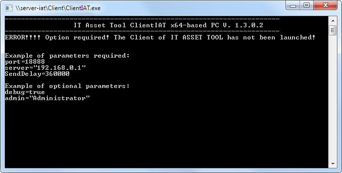 Example of error Launcing IT Asset Client