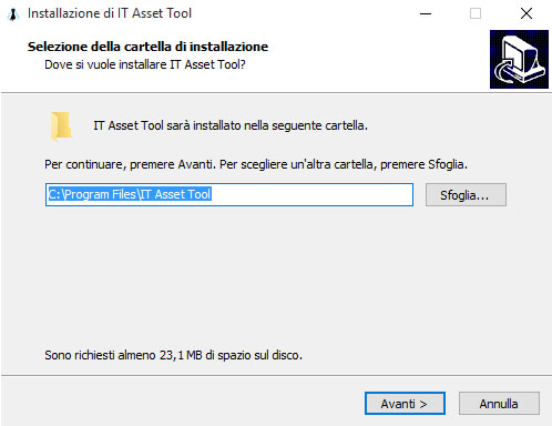 Path di installazione di IT Asset Tool